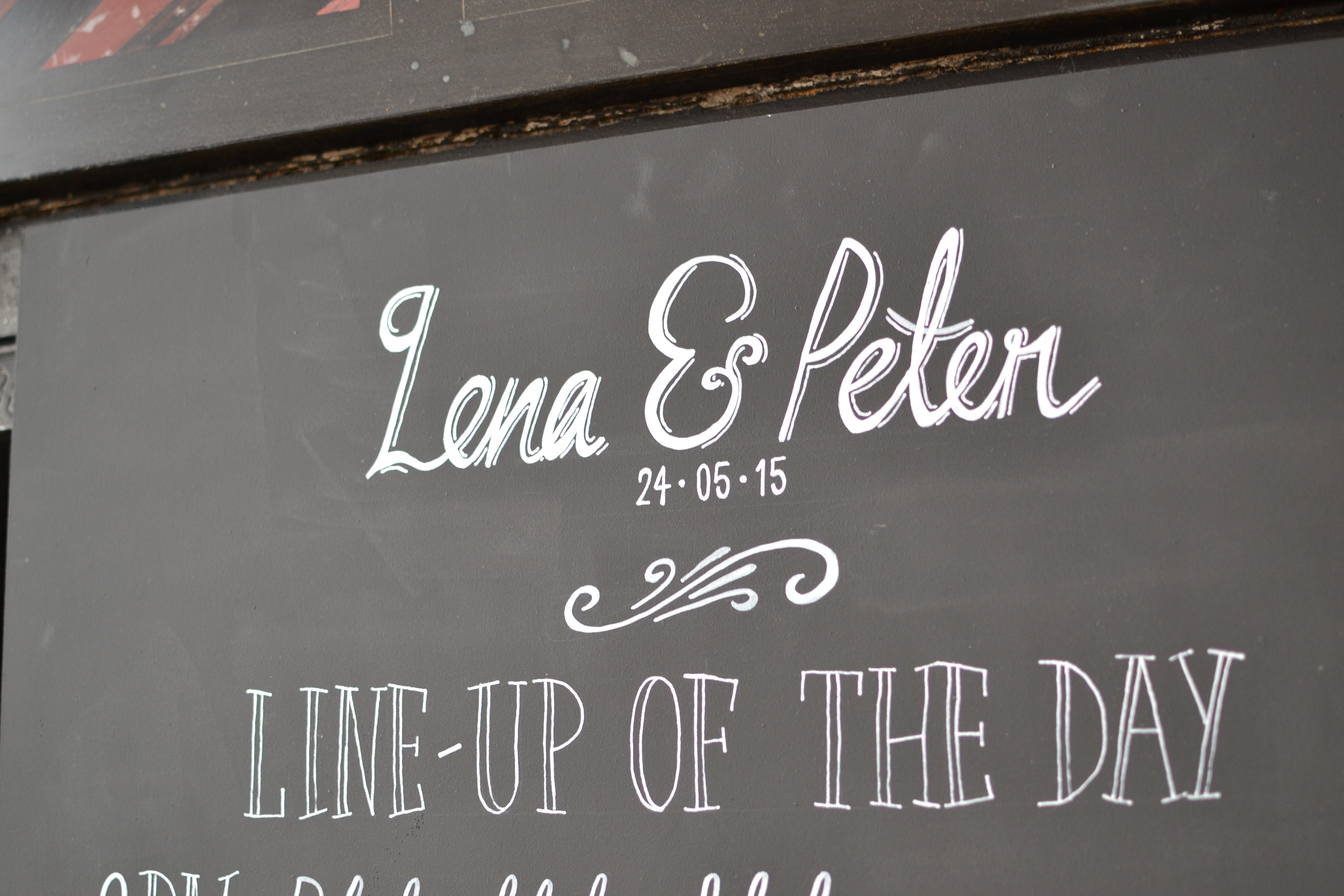 Wedding Line Up Chalkboard Sign