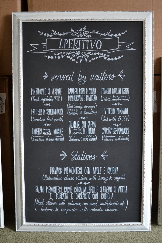 Framed chalkboard menu sign
