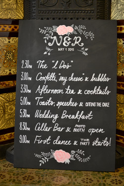 Chalkboard Wedding Timings Sign