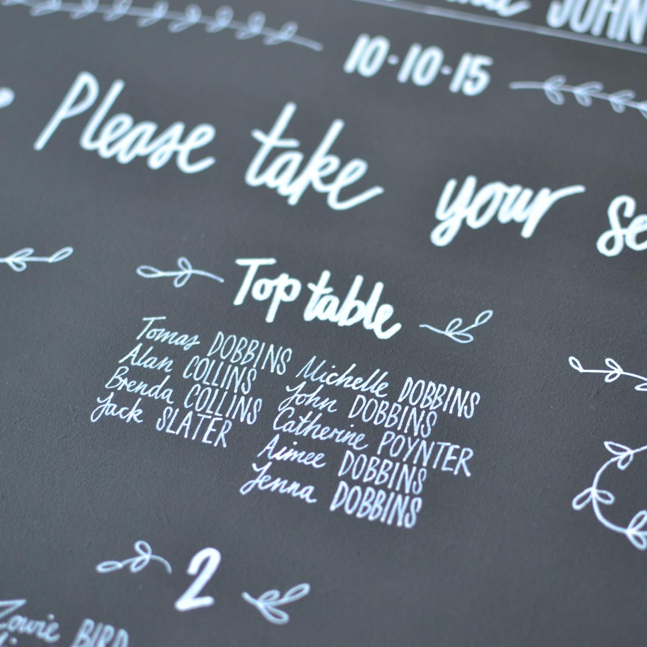 Chalkboard table plan - Michelle and John (8)