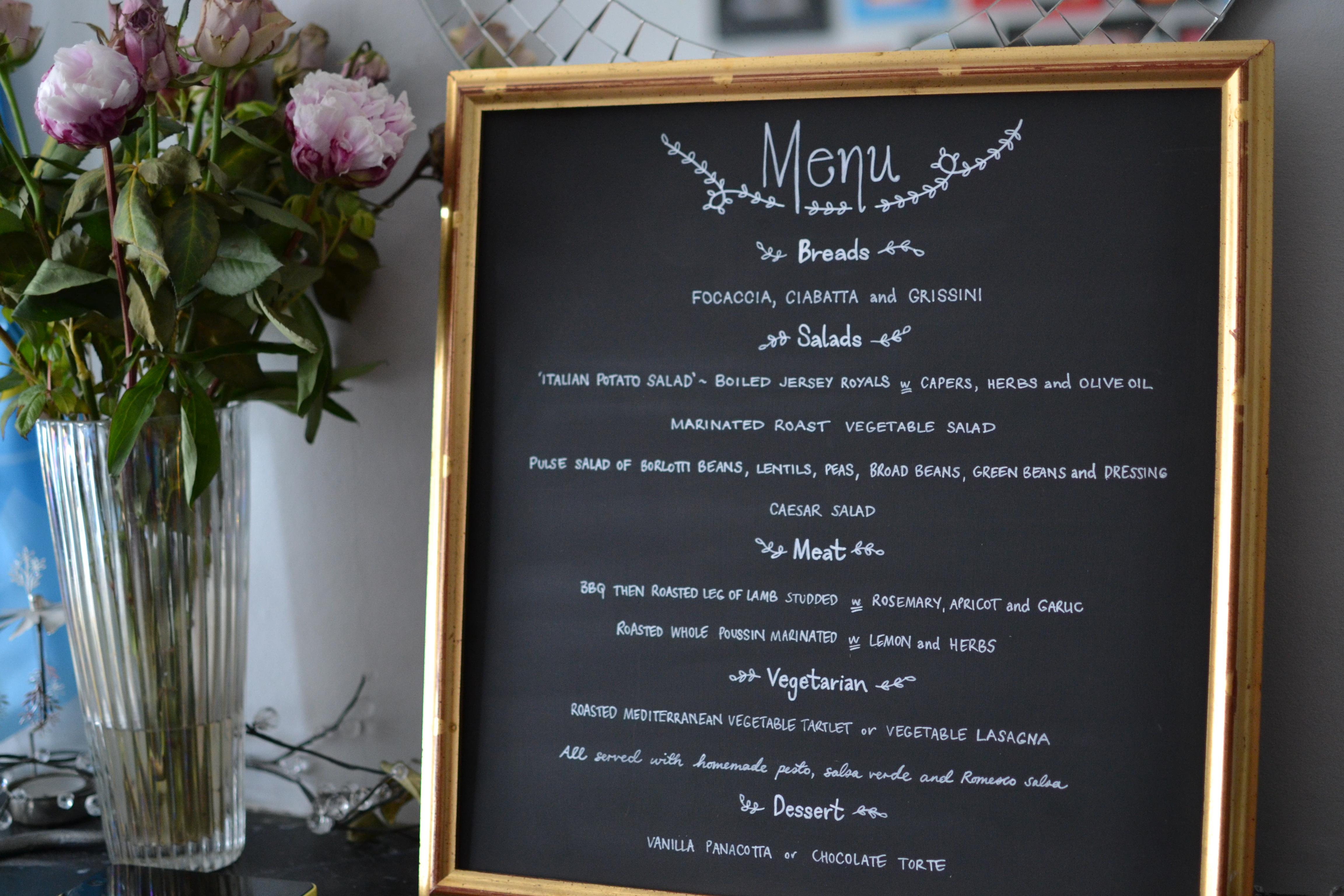 Framed Menu Sign for Wedding