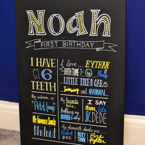 Birthday Chalkboard: Noah - February 2016