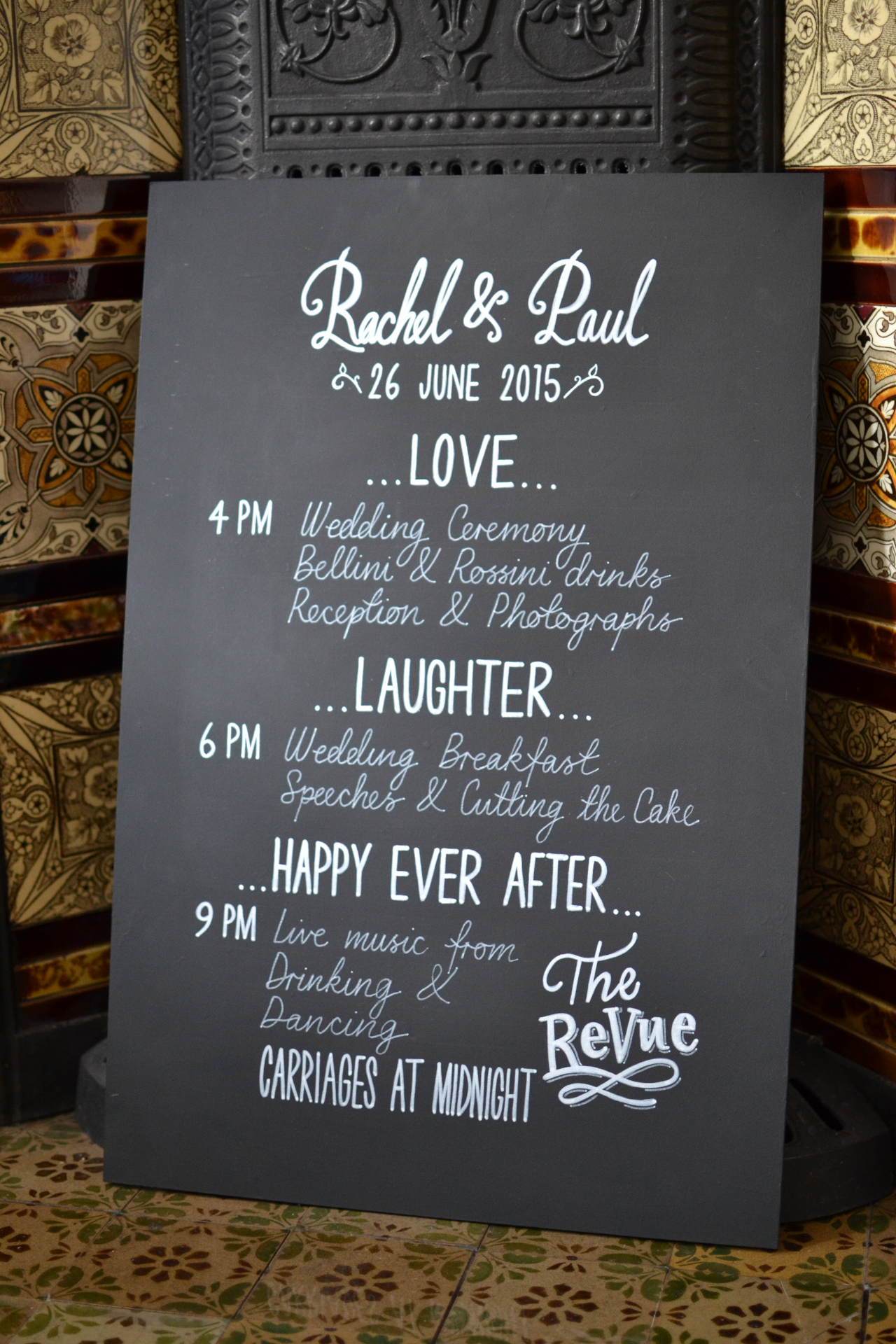 June 2015 Wedding Timings Sign