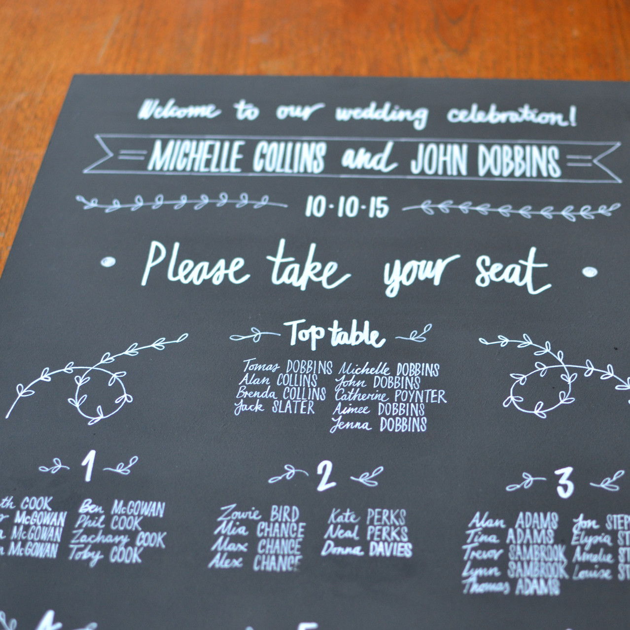 Chalkboard table plan - Michelle and John (1)