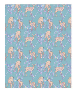 Fawns and snow drops in blue
