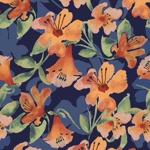 orange water colour flower