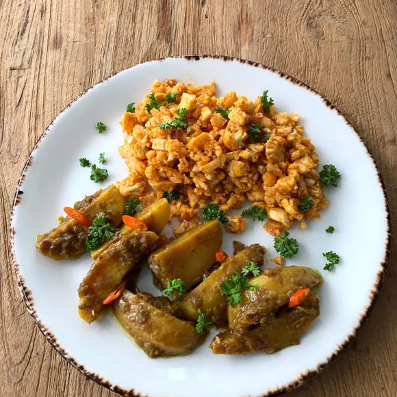 Couscous met gekruidde aardappelpartjes