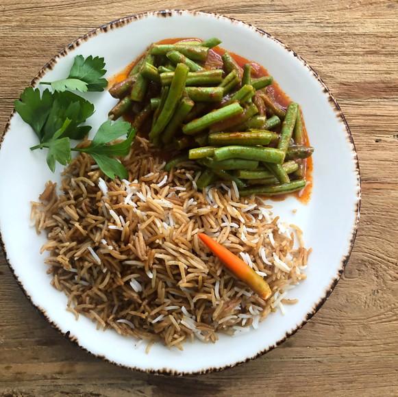 Haricot verts in saus met rijst 1
