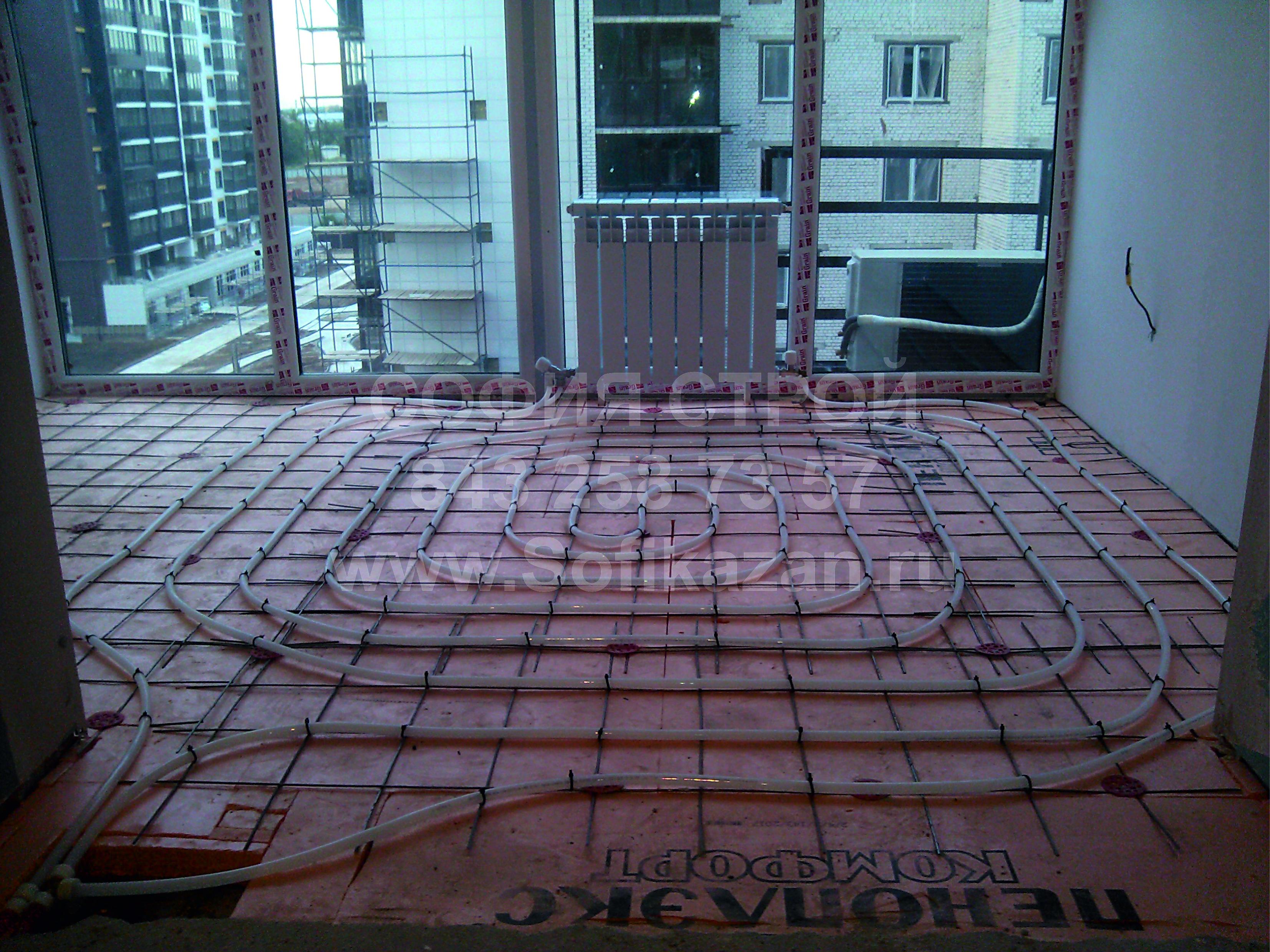 Тепл пол и радиатор на балкон