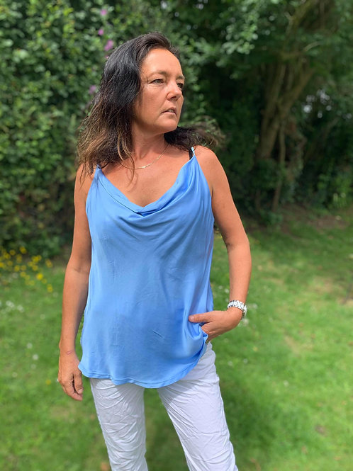 Sky Blue Silk Scoop Neck Strappy Top