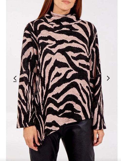 Zebra Cowl Neck Knitted Jumper