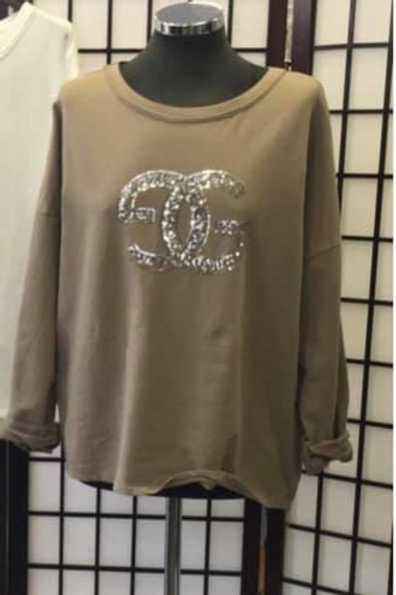Cotton Jumper with Sequin Detail on the Front