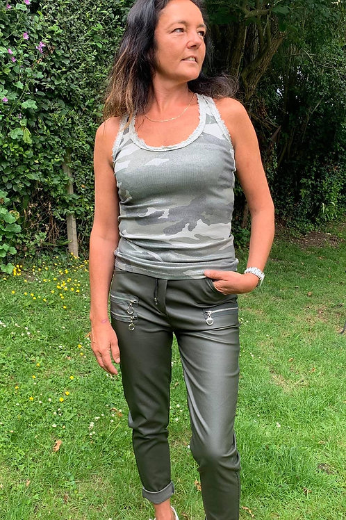 Leather Look Slim Fit Trousers
