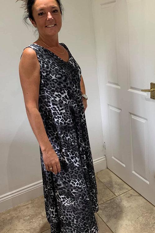 Silk Long Leopard Effect Dress