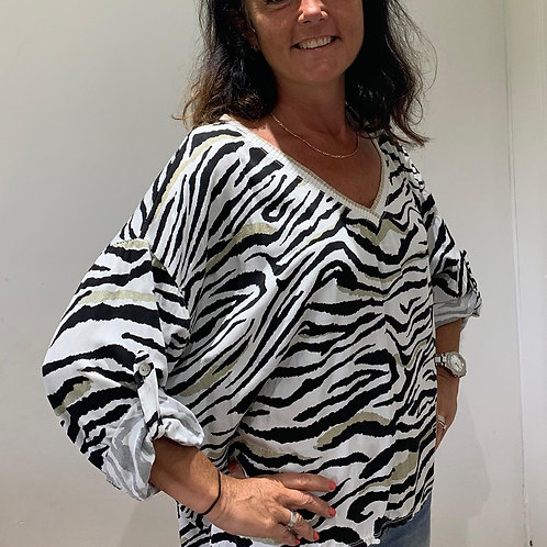 Cotton Zebra Print Top