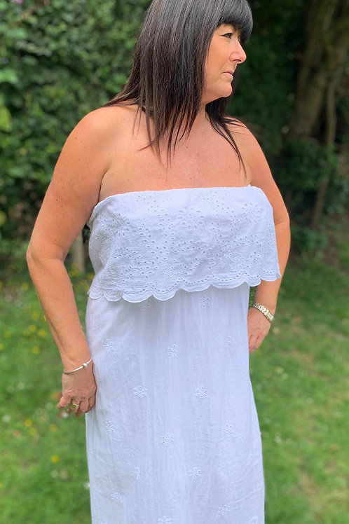 Embroidery Anglaise Long Linen off shoulder dress