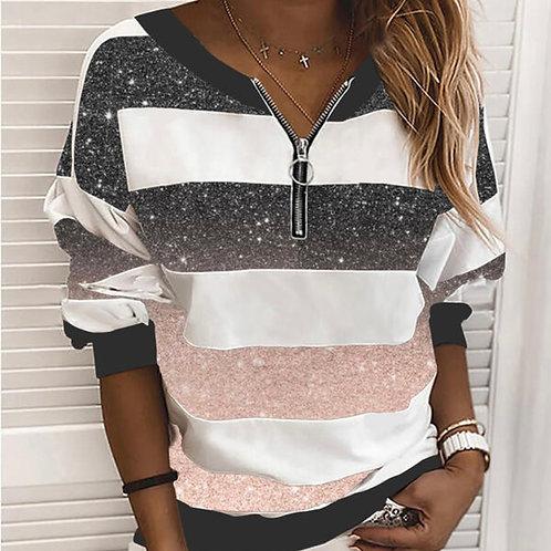Silk effect striped sweatshirt