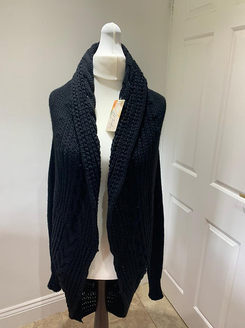 Knitted Cocoon Neck Mid Length Cardigan