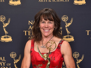 Rebecca with her Emmy award for Blood Road