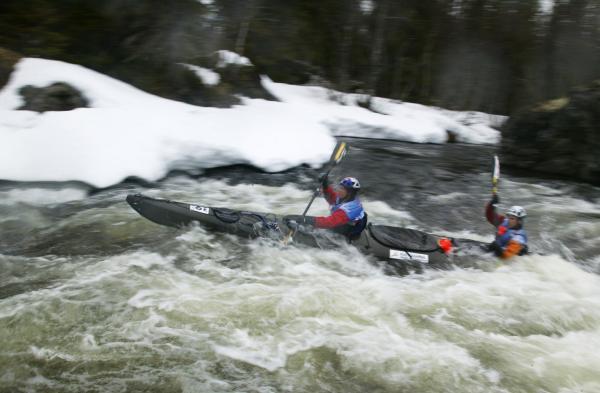 Rebecca navigates class II rapids