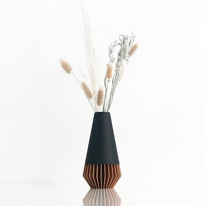 Vase SUNA - noir mat et bois
