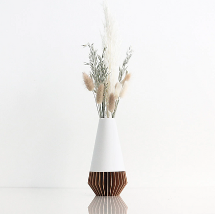 Vase SUNA - blanc mat et bois