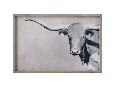 Longhorn Image Canvas Wall Décor with Wood Frame