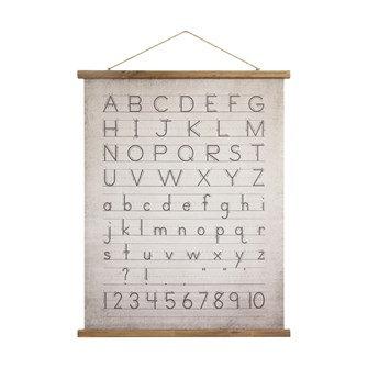 "31""L x 39""H Canvas & Wood Scroll Wall Decor w/ Alphabet & Numbers & Jute Hanger"