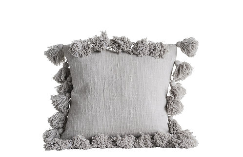 Grey Square Cotton Pillow with Tassels