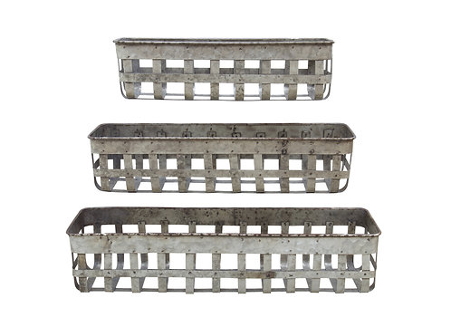 Set of 3 Rectangle Open Weave Iron Baskets
