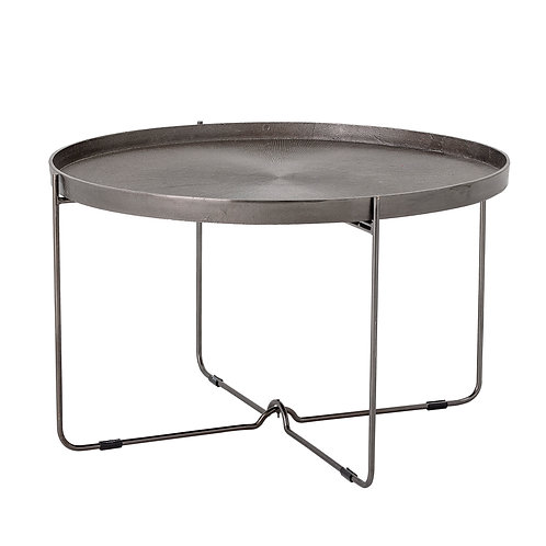 "30.75"" Round Metal Table with Engraved Tray-Style Top"