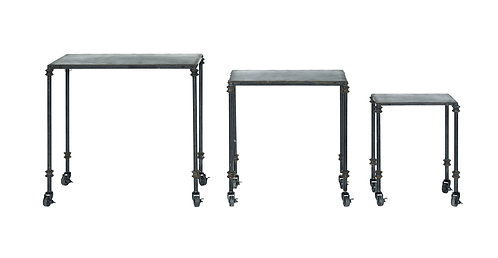 Black Metal Tables on Casters (Set of 3 Sizes)