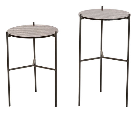 """7""""H & 8.75""""H Round Metal Plant Stands/Accent Tables with Glass Tops (Set of 2 Si"""