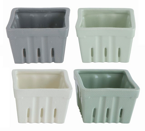 "4"" Square Stoneware Berry Basket, set of 4"