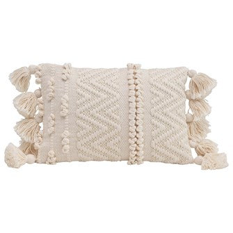 "14""L x 9""H Woven Cotton Textured Lumbar Pillow w/ Pom Poms & Tassels, Cream Colo"