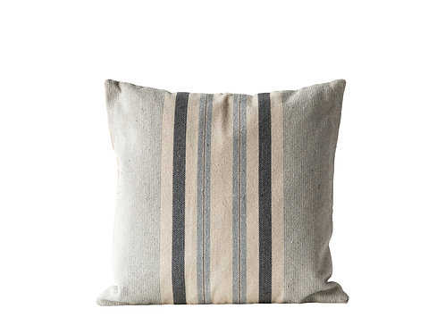 Square Grey Striped Cotton Woven Pillow