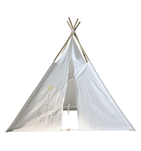 Canvas Teepee with Embroidered Sheep & Bamboo Poles