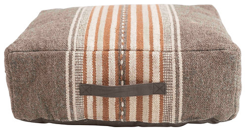 "8""H Cotton Woven Pouf with Stripes & Handle"