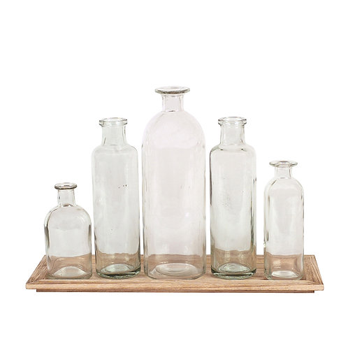 Set of 5 Vintage Bottle Vases on Wood Tray