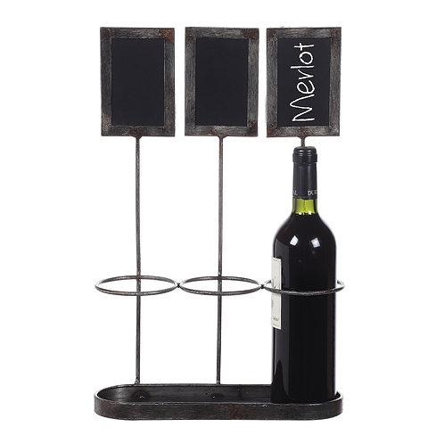 Wine Bottle Holder with Chalkboard Labels