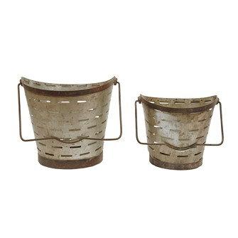 "10"" & 8""H Metal Olive Buckets w/ Handle, Set of 2"
