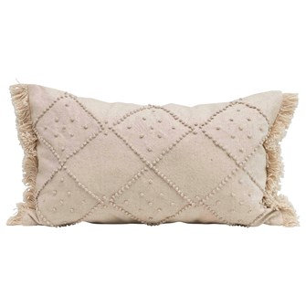 "20""L x 12""H Woven Cotton & Linen Blend Lumbar Pillow w/ French Knots & Fringe, C"