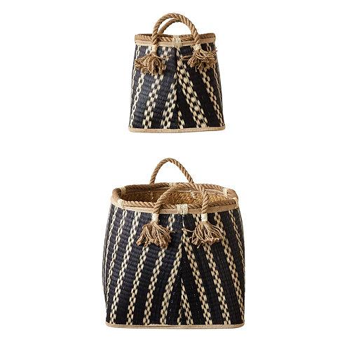Set of 2 Beige & Black Wicker Baskets with Handles & Tassels