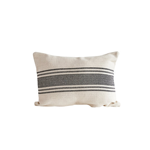 Cream Rectangle Cotton Pillow with Grey Stripes