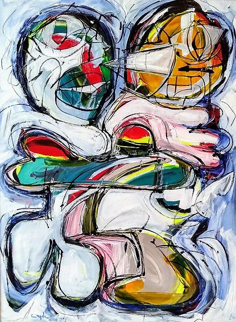 "Hugs ‐Acrylic ‐Paper ‐24"" x 18"""