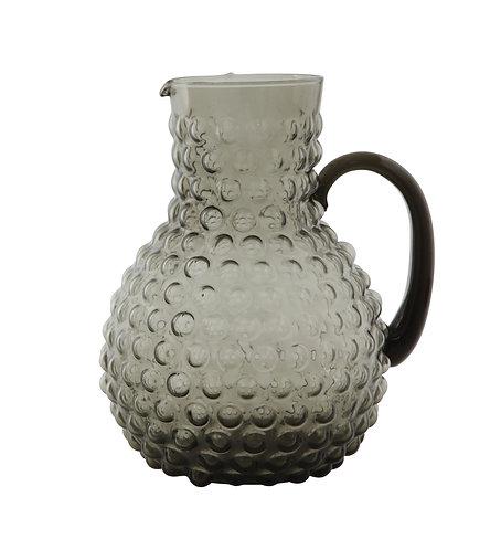 Large Transparent Hobnail Glass Pitcher Smoke Grey