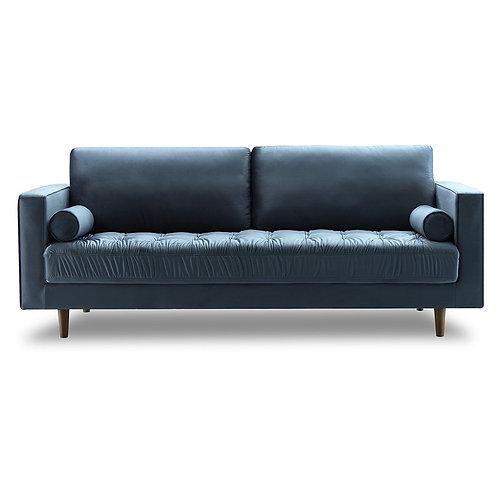 Light blue velvet BenteTufted 3-Seater Sofa