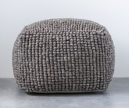"24"" Square x 16""H New Zealand Wool Pouf, Grey"