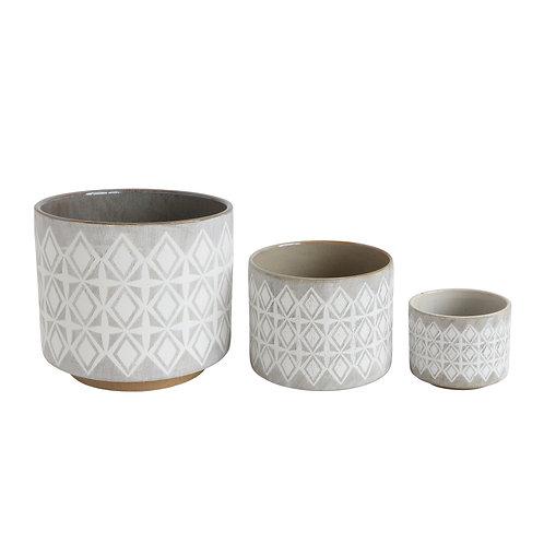 Grey & White Stoneware Pots (Set of 3 Sizes)