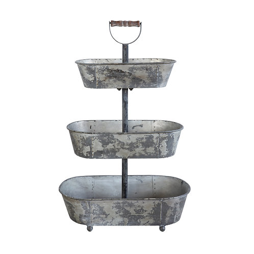 Metal 3 Tier Container with Wood Handle Web Product Description Place a small po